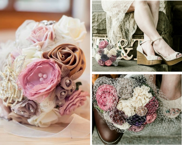 wood flower wedding bouquet and fabric wedding bouquet