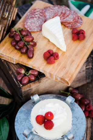 cheese, fruit, and wedding cake