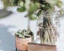 wedding centerpieces, vintage mason jars, succulents in repurposed wine bottles