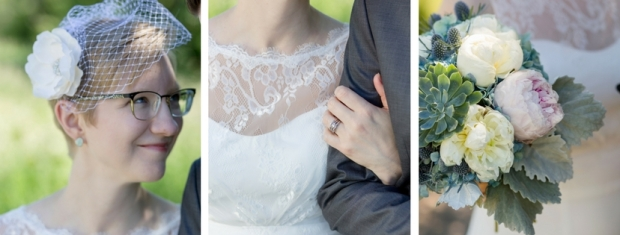 bride details, veil, lace dress, wedding ring, wedding bouquet with succulents