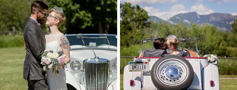 bride and groom in classic car on wedding day, mountain views