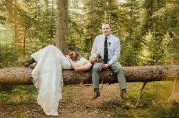 bride and groom Bozeman, MT mountain elopement