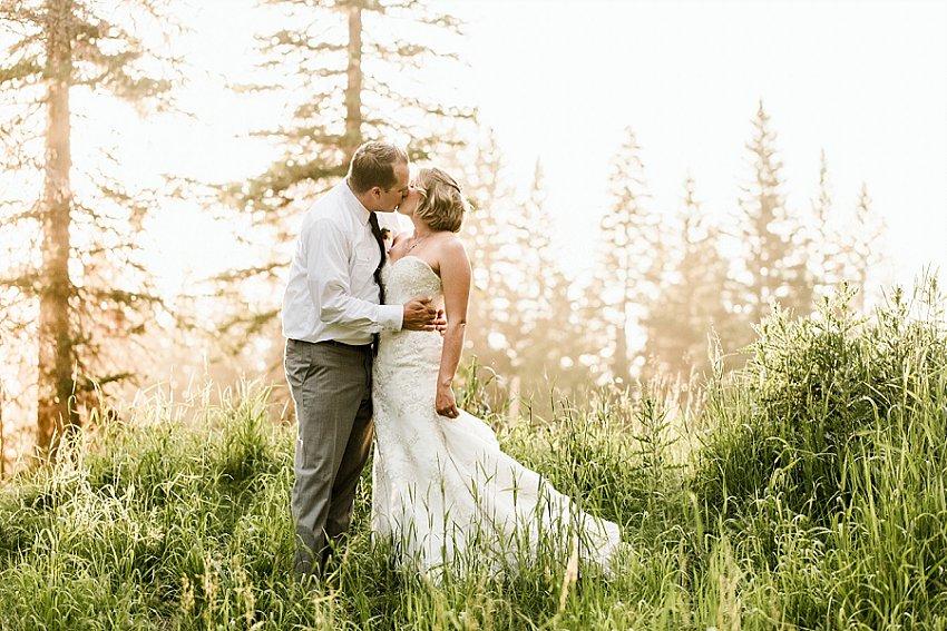 bride and groom Bozeman, MT elopement kiss