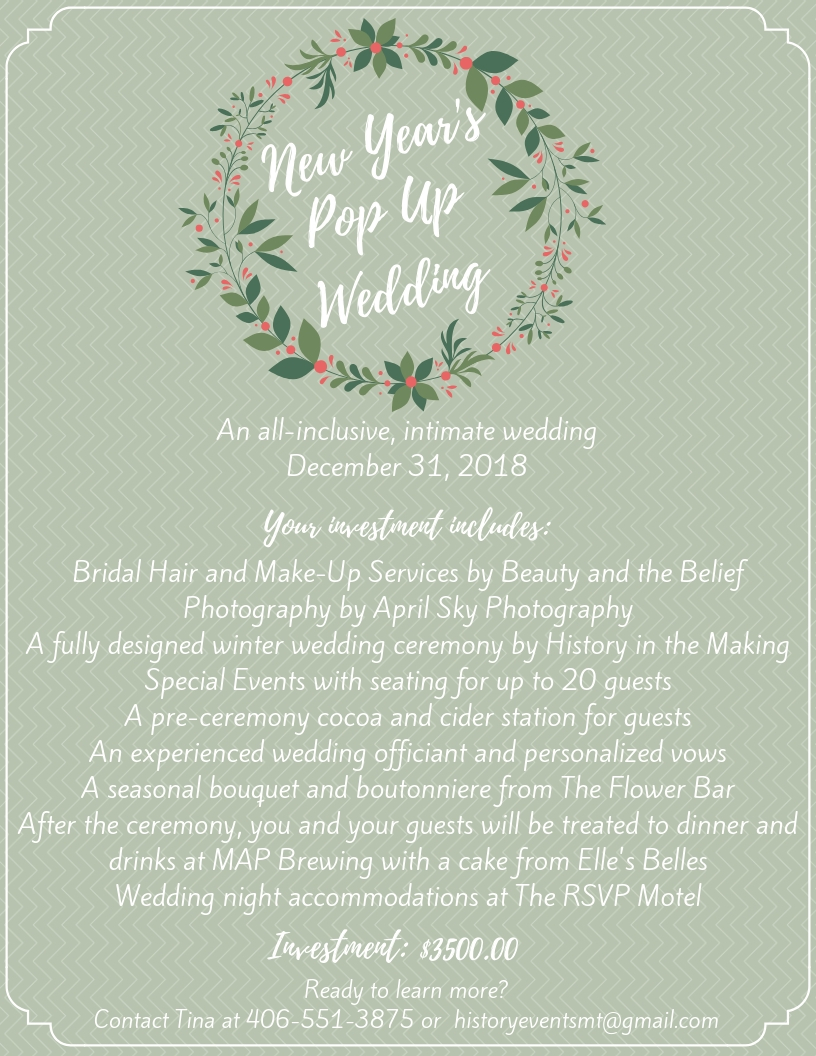 New Years Eve 2018 Pop Up Wedding Flyer