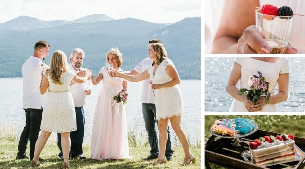 vow renewal on Hebgen Lake, champagnw toast
