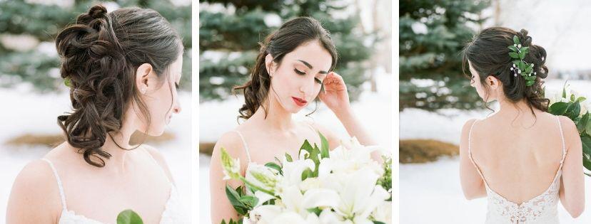 bridal hair, up-do, bridal braids, curls, fresh greenery in hair